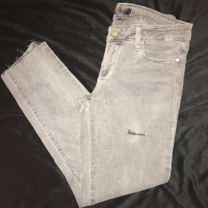 Paige Gray Distressed Peg Skinny Ankle Jeans 28